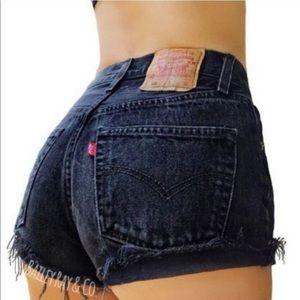 LEVI'S/ High Waisted 501 Dark Denim Shorts Cutoff